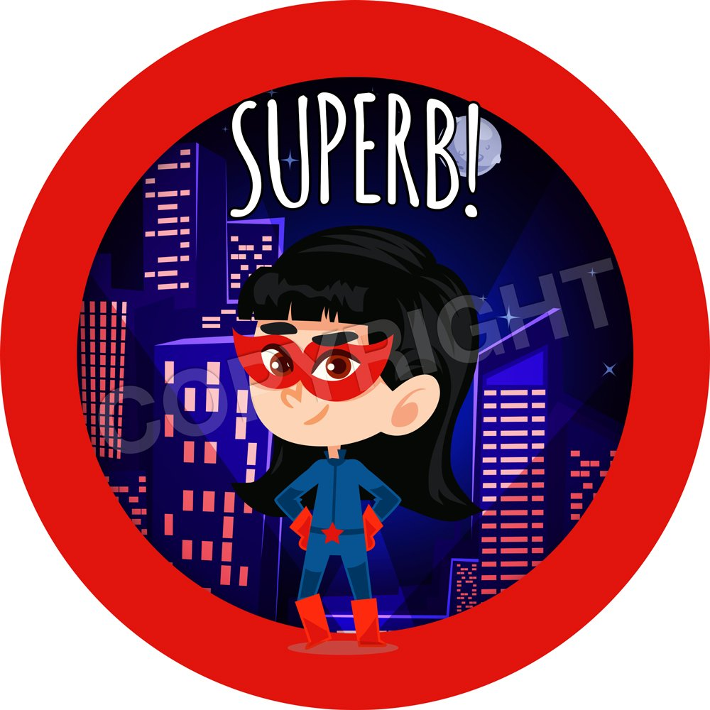 Teachers Children 6 Stickers @ 9.5cm Graphic Flavour Cute Girl Superheroes Reward Sticker Labels Parents