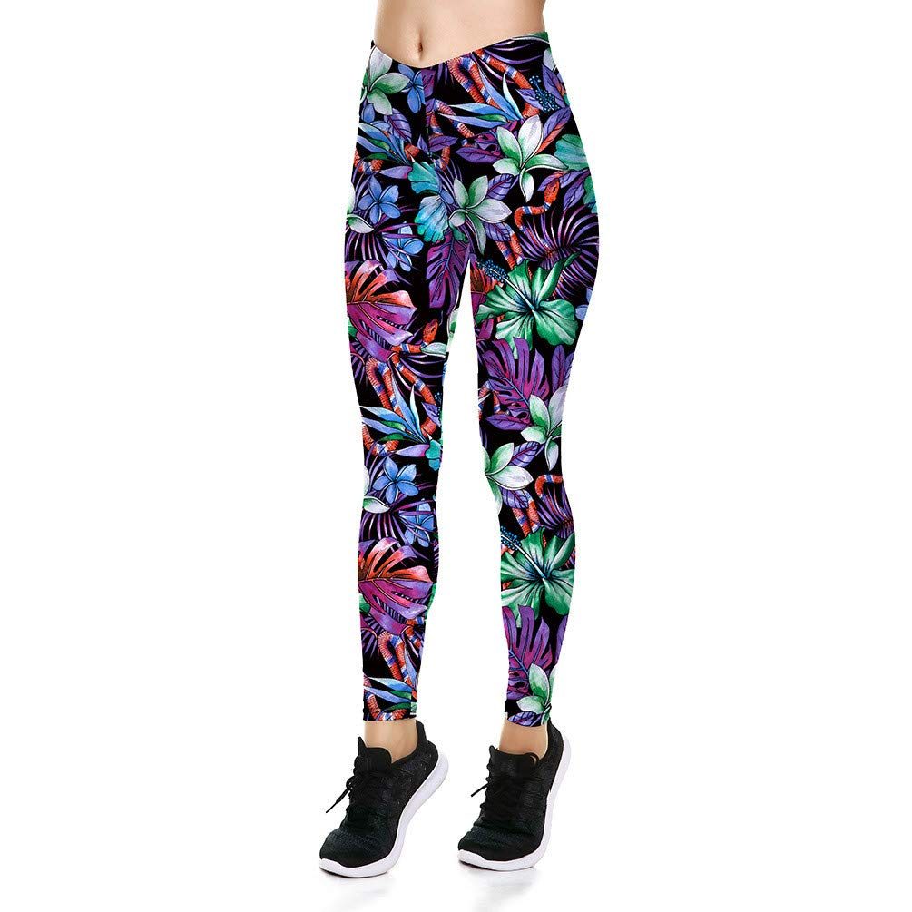 Fanii Quare Women's High Waist Dri-Fit Running Tights Printed Training Compression Workout Pants Leafage S
