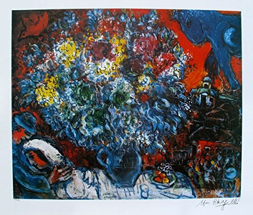 """Wall Art by Marc Chagall Bouquet De Fleur Et Amants Limited Edition Lithograph Print. After the Original Painting or Drawing. Measures 23½"""" X 31"""