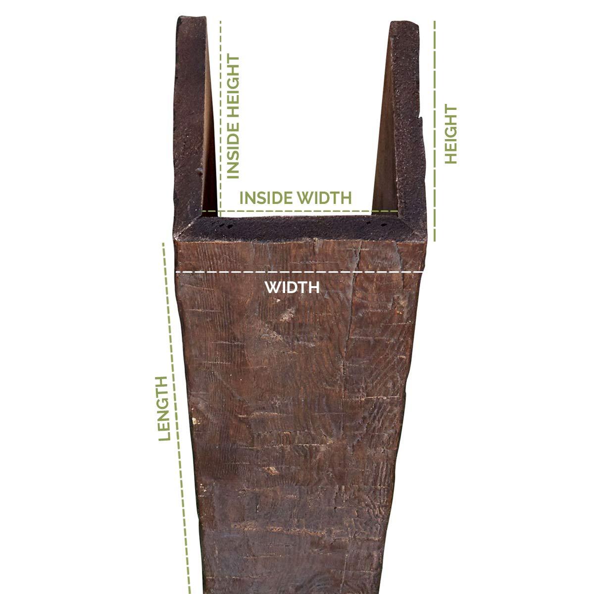 Puritan Pine 6W x 6H x 10L Ekena Millwork BMRW3C0060X060X120PP 3-Sided U-Beam Riverwood Faux Wood Beam