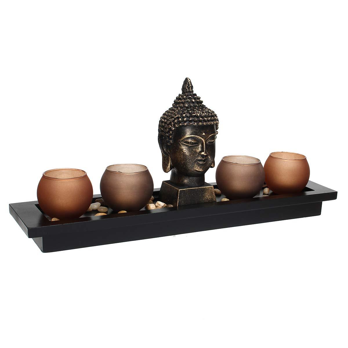Jeteven Portavelas Portavelas de Incienso Estatua de Buda Negro Hecho de Resina Soporte de Velas Decorativas Zen Buddha