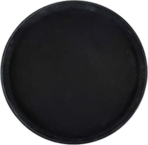 Winco Round Fiberglass Tray with Non-Slip Surface, 16-Inch, Black