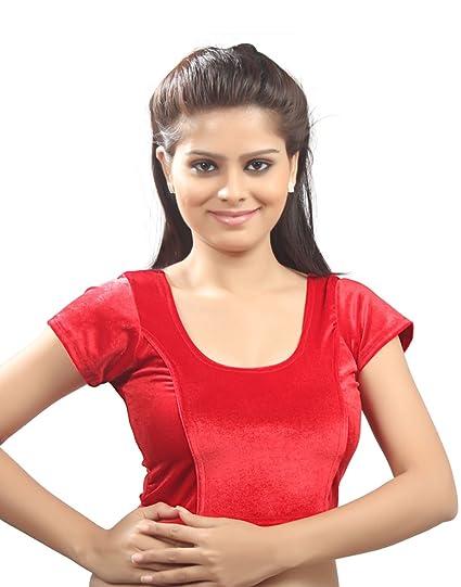159c277d61fdbf Amazon.com: Dark Red Velvet Chic Ready-made Saree Blouse Sari Choli - A-9:  Clothing