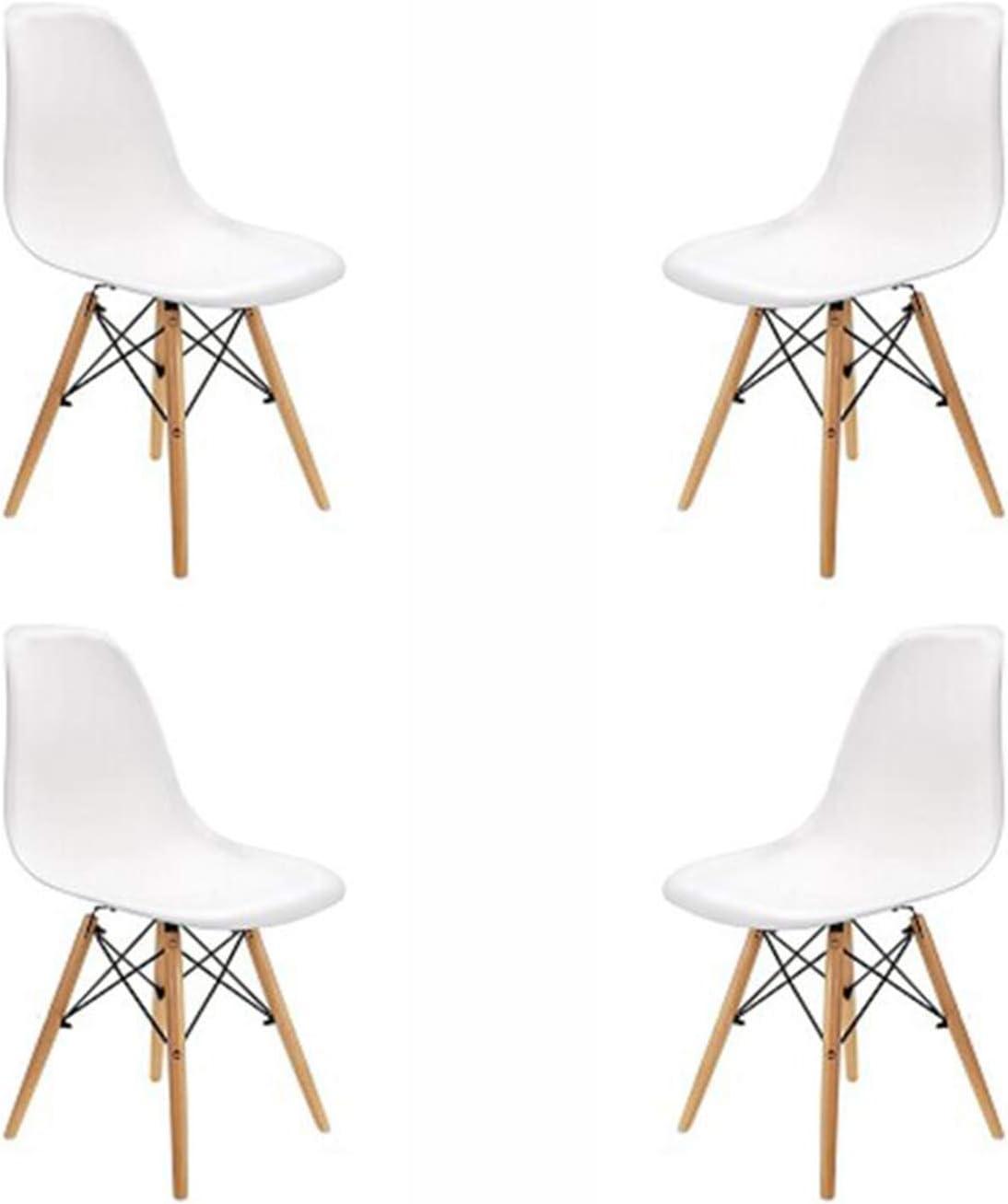 N / A Conjunto de 4 Sillas de Comedor, Diseño Ergonómico, Diseño Estilo nórdico Patas de Madera de Haya Natural para Sillas de Comedor Silla de Oficina Silla de salón (Blanco)