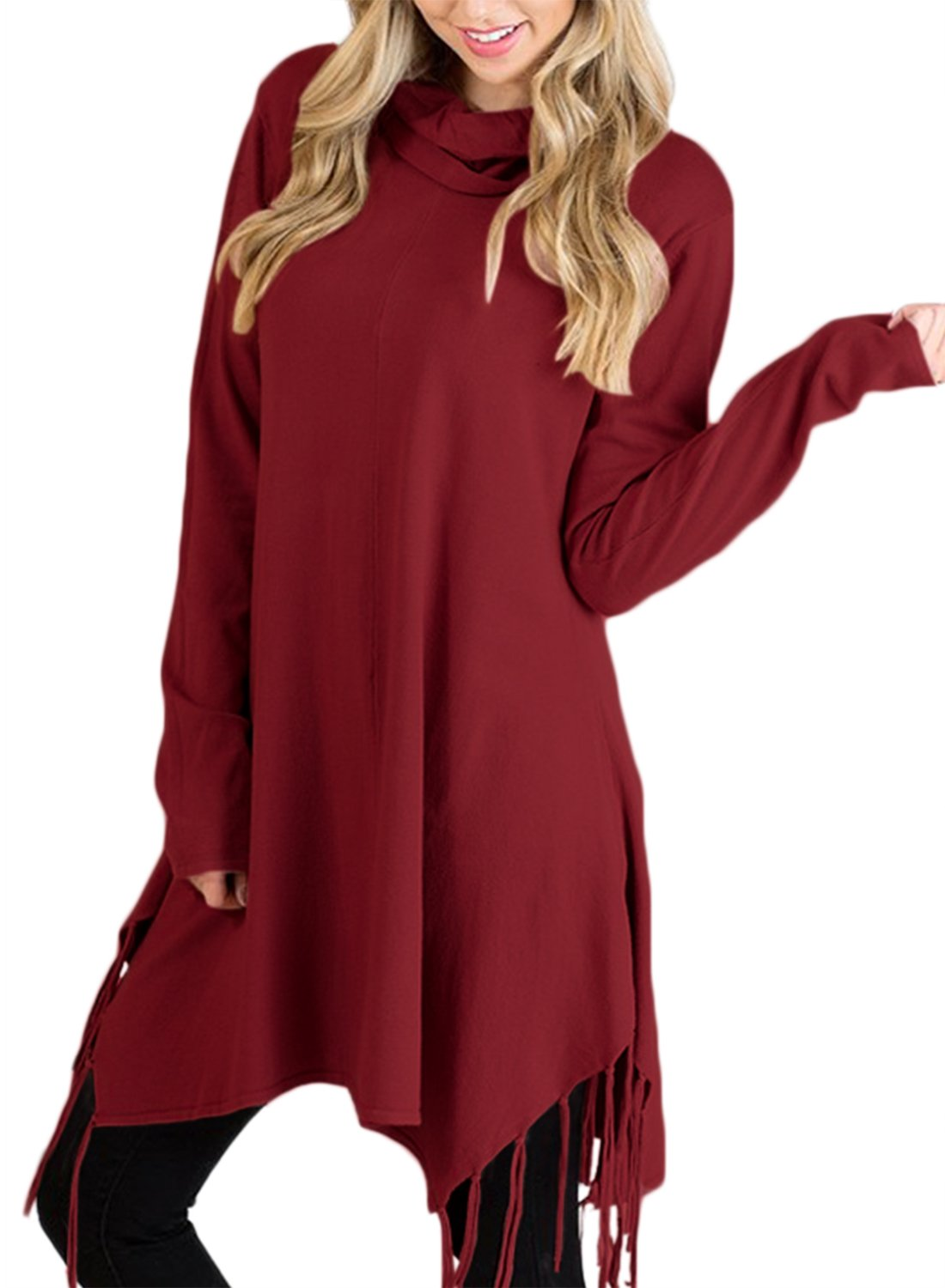 HOTAPEI Women's Casual Winter Fall Long Sleeve Knitted Tunic Sweatshirts Loose Cowl Neck Fringe Tunic Sweater Dress Blouse Tops Burgundy Small