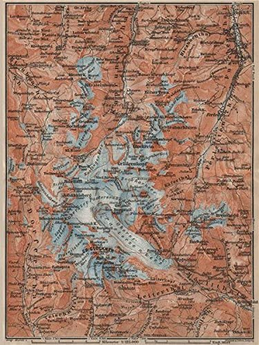 Amazon Com Glocknergruppe Grossglockner Topo Map Austria Osterreich Karte 1911 Old Map Antique Map Vintage Map Austria Map S Posters Prints