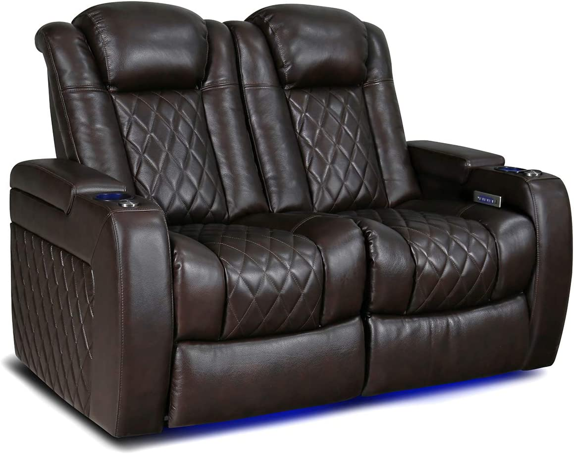 Valencia Tuscany Home Theater Seating | Top Grain Nappa Leather, Power Reclining, Power Lumbar Support, Power Headrest (Row of 2 Loveseat, Dark Chocolate)