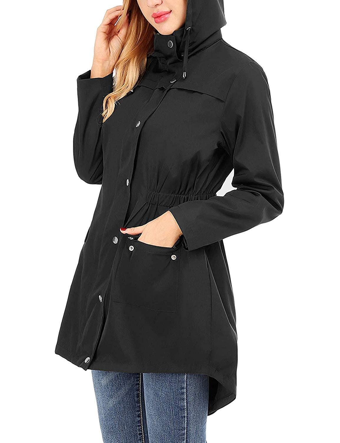 UUANG Rain Jacket Women Waterproof with Hood Outdoor Raincoat Active Lightweight Jacket S-2XL