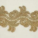3,8cm di larghezza oro metallizzato Rayon ricamo in pizzo da sposa Wedding, pizzo tessuto Modiste, bimbo, Scrapbooking per capelli, vestito e accessori da sposa # 344