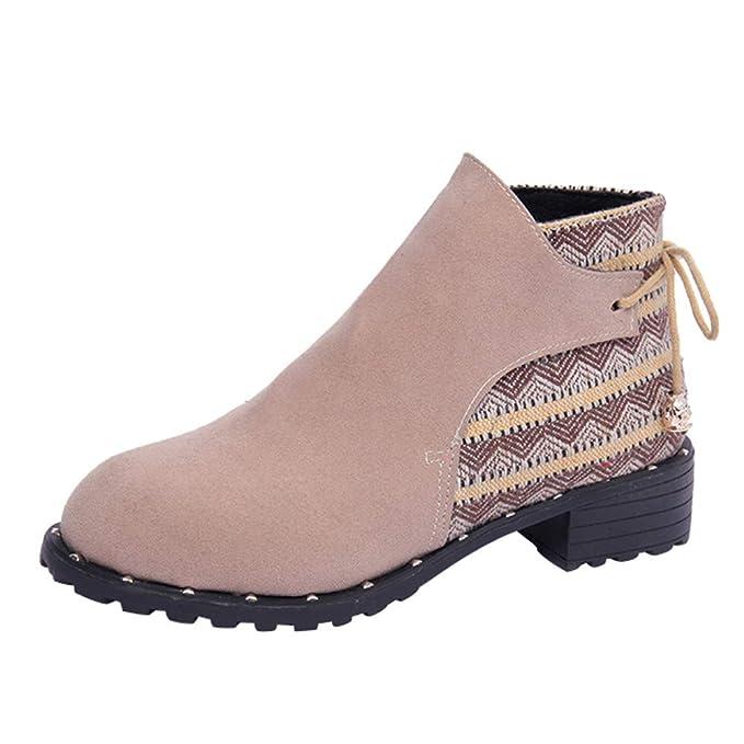 ❤ Botas Mujer Invierno Planas,Botas de Mujer Flock Cuñas Low Zipper Botas de Tubo Medio Zapatos Casuales Boots Zapatos con Cordones Absolute: Amazon.es: ...