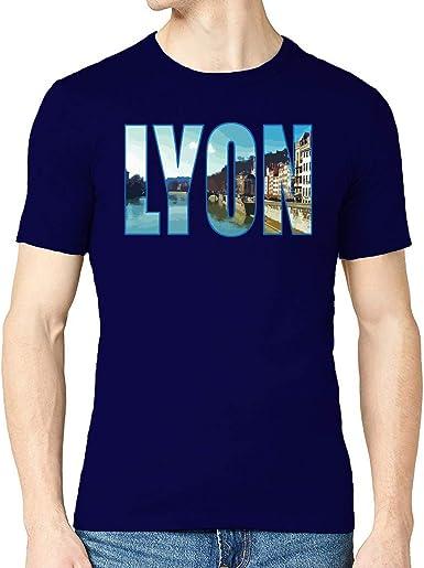 Lyon France City Vector Graphic Camiseta con Cuello Redondo ...