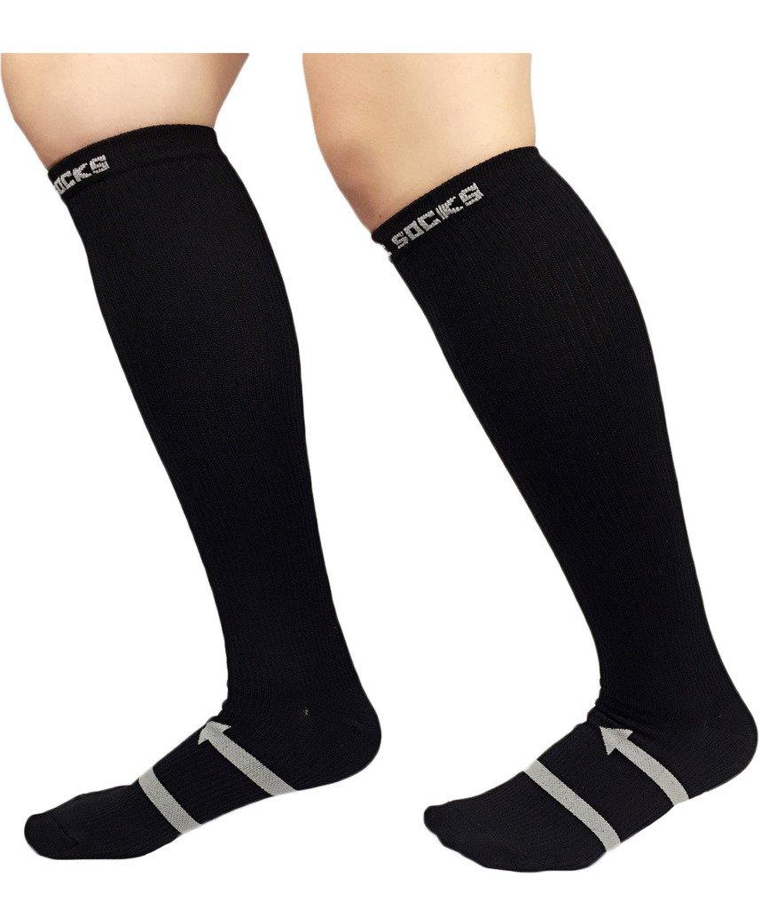 ailizi Women and Men 's Circulator Moderate ( 15 – 20 mmHg ) Graduated Compression Socks B01IEOGMZA ブラック Women 8.5-11