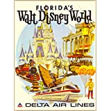 Florida's Walt Disney World Delta Air Lines Orlando Florida Vintage Airline United States of America Travel Home Collectible Wall Decor Advertisement Art Poster Print. Measures 10 x 13.5 inches