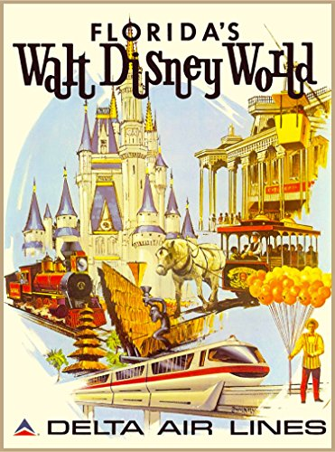 A SLICE IN TIME Florida's Walt Disney World Delta Air Lines Orlando Florida Vintage United States Travel Wall Decor Advertisement Art Poster Print. 10 x 13.5 inches