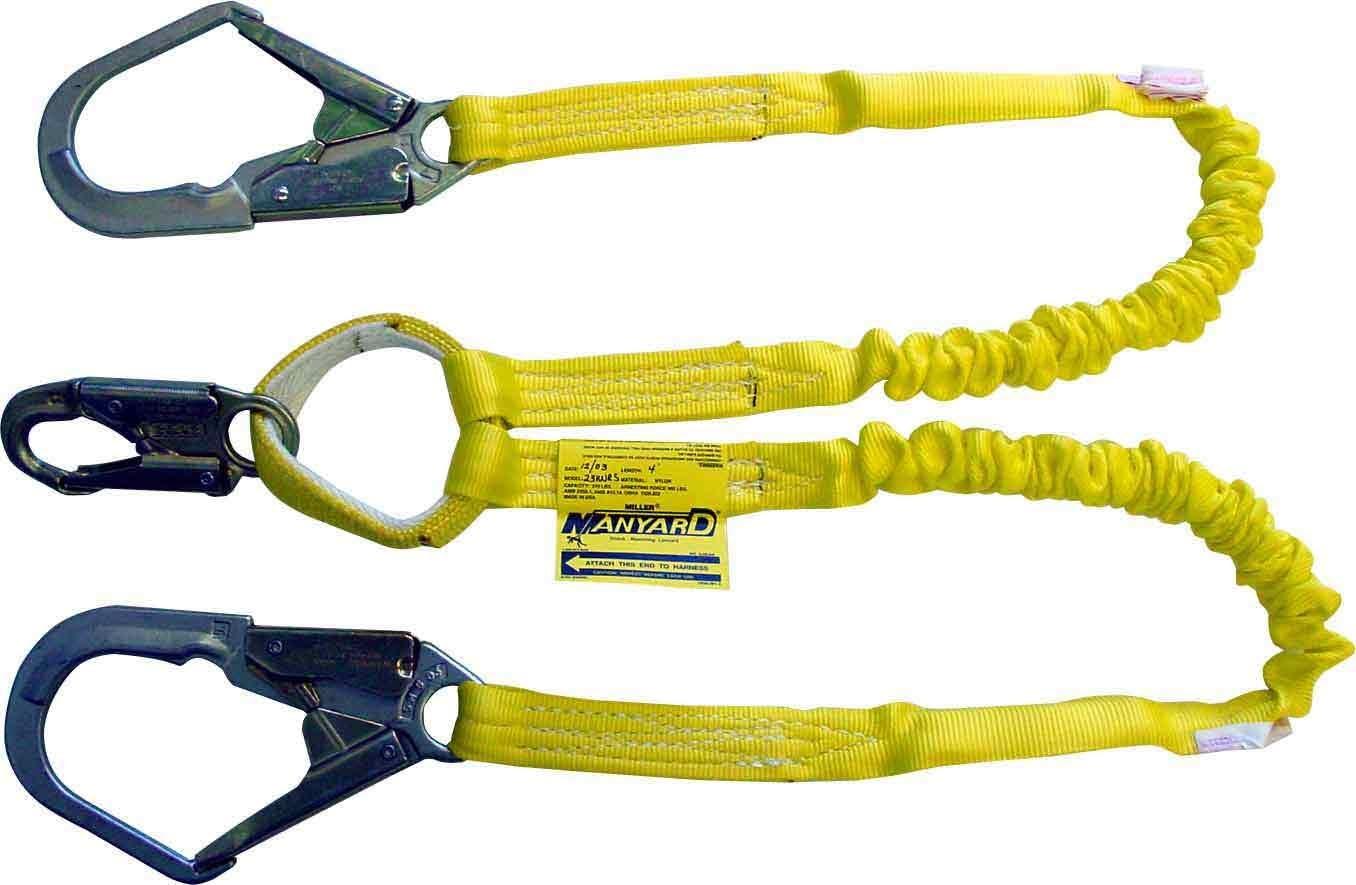 Black Sperian Protection Group Miller by Honeywell 216MK//5FTBK 5-Feet Arc-Rated Shock-Absorbing Manyard II Stretchable Kevlar Web Lanyard with 2 Locking Snap Hooks