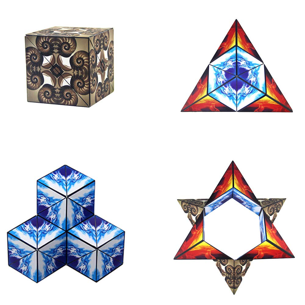Magnetic Euclidean Cubes Geometric Cubes Buliding Blocks Cube Magnetic Infinity Stacking Cubes STEM Toys  Transforming Magic Cube Educational Building Toys Set for Kids and Adults (Pack of 4)