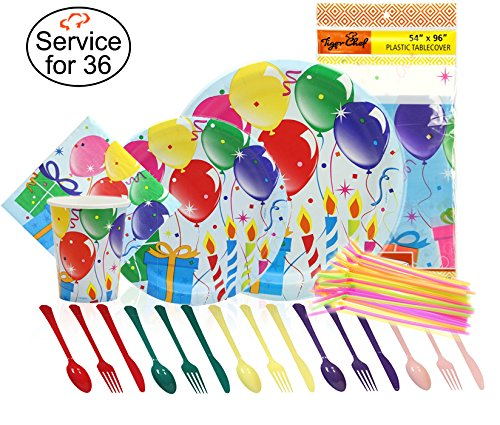 Tiger Chef Birthday Balloons Party Supplies Set for 36, Includes Paper Party Plates, 9-ounce Paper Cups, Napkins, Disposable Cutlery, Table covers, Straws, and Garbage Bag - Complete Party (13th Birthday Plates)