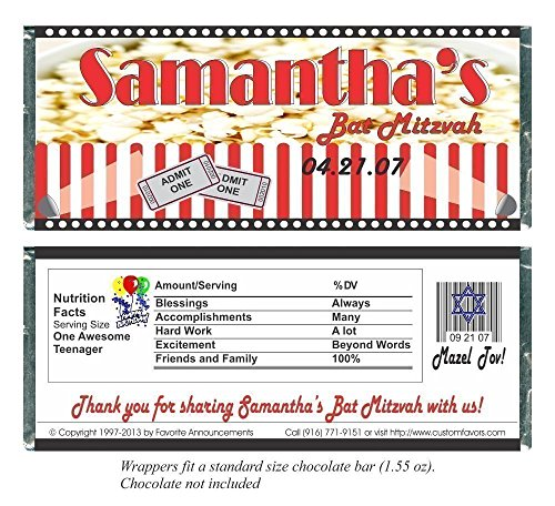 Bat or Mar Mitzvah Popcorn Theme Candy Bar Wrappers, Chocolate Party Favors (set of 12)(W428/K120)
