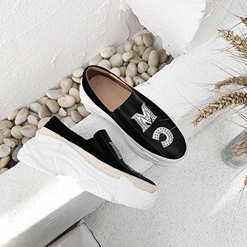 Élastique Plateformes À Black Femme Q1415 À Semelles KJJDE Chaussures Rivets WSXY Lettre 35 Coins 1xwfHRqz