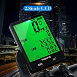 Cycling Odometer Waterproof Bike Computer Stopwatch with Green Backlight 2.8 Inch LED Screen Cycling Accessory