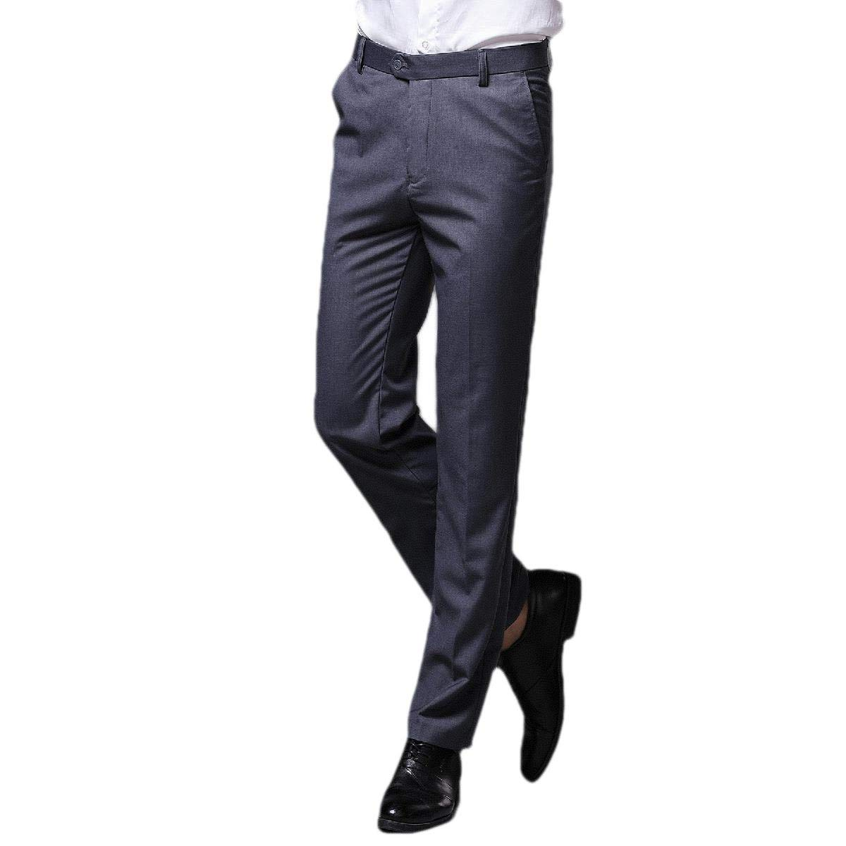 AngelSpace Mens High Waist Sport Thin No-Iron Flat-Front Plain Front Pant
