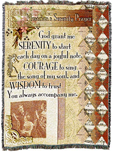 (Pure Country Weavers | Musicians Serenity Prayer Woven Tapestry Throw Blanket with Fringe Cotton USA 72x54)
