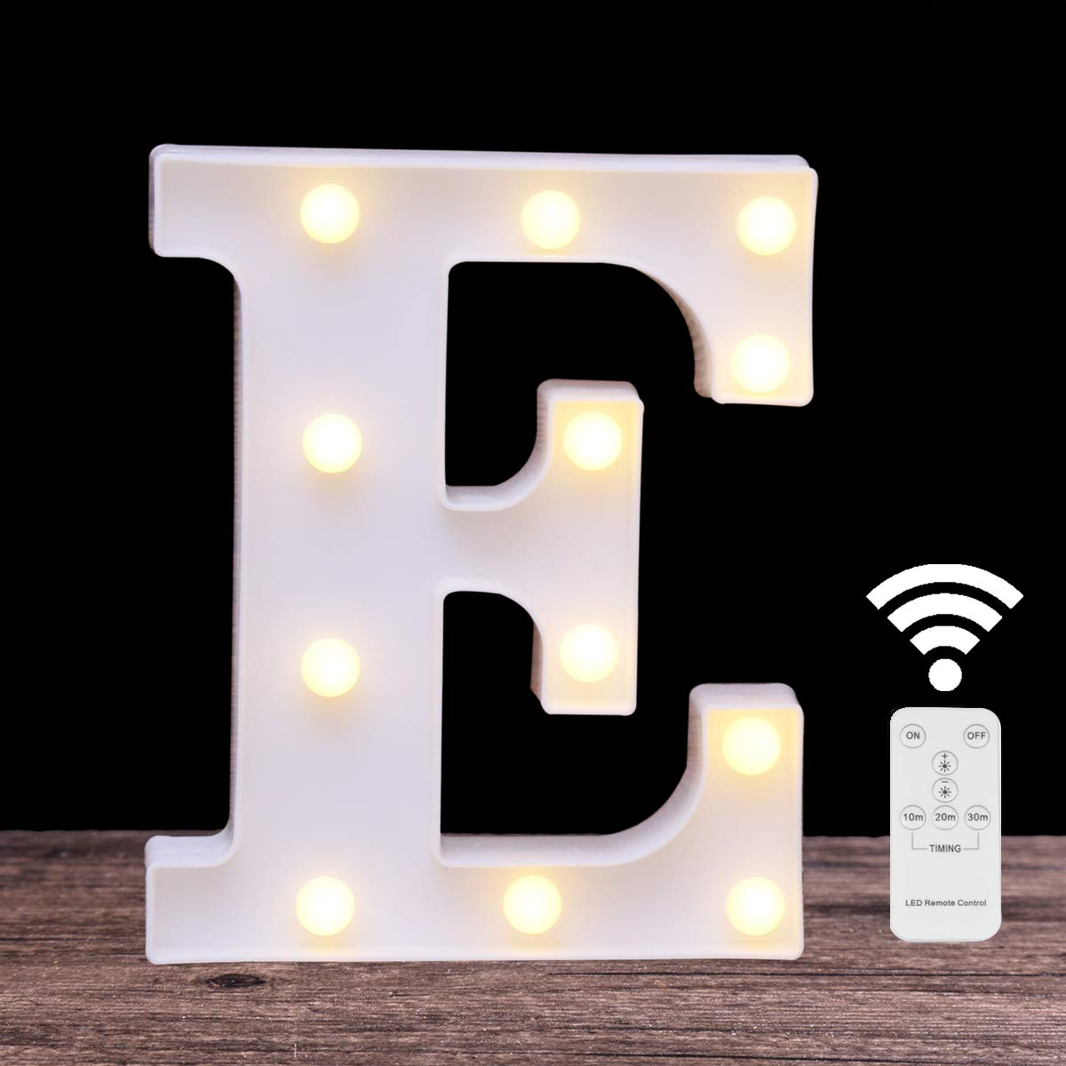 Elnsivo LED Marquee Letter Lights 26 Alphabet Light Up Name Sign Remote Control Letter Lamp for Wedding Birthday Party Battery Powered Christmas Lamp Home Bar Decoration (Letter E-Remote Control)