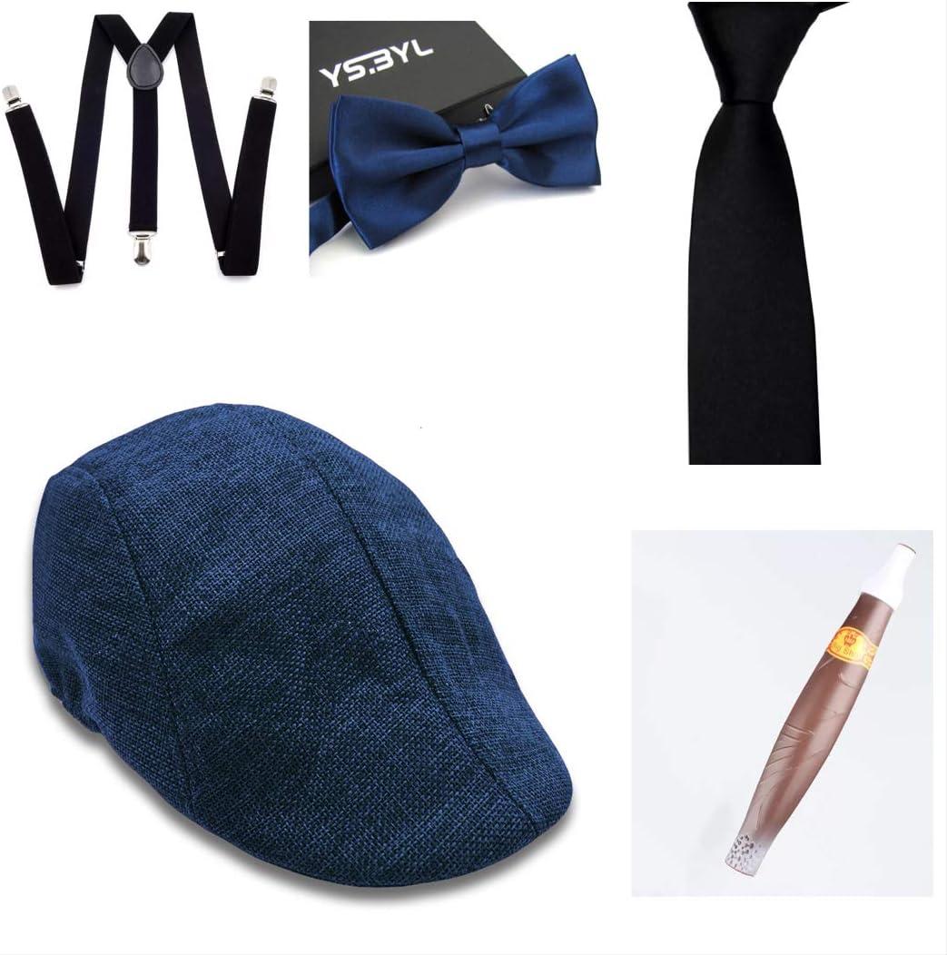 thematys® Sombrero mafioso Al Capone + Pajarita + Tirantes + Corbata + Cigarro - Disfraz de los años 20 para Dama y Caballero Carnaval (3)