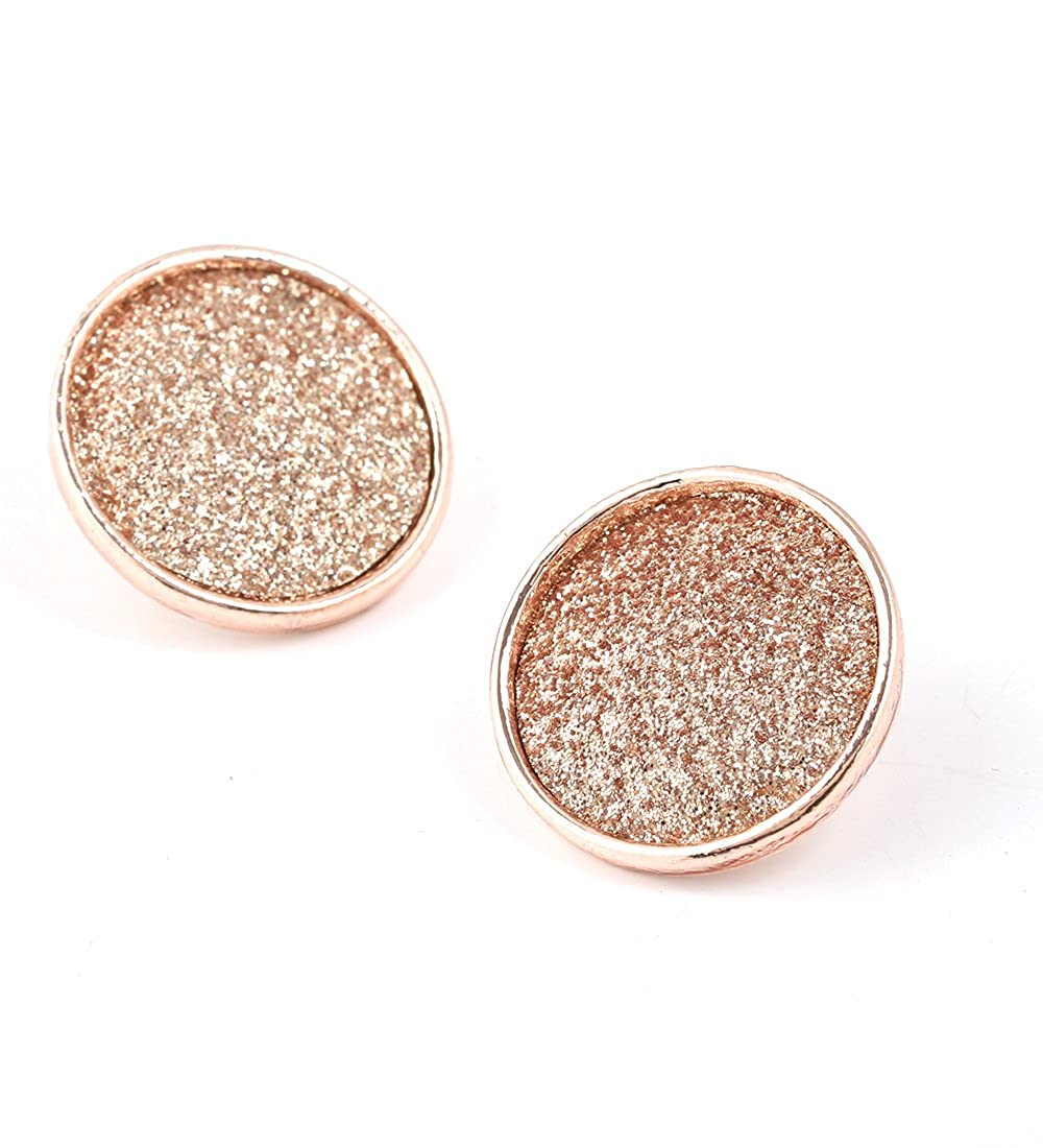 b6b0ae11b Amazon.com: Isaloe Rose Gold Frosted Button Stud Earrings for Women Girls  Pierced Ear Jewelry (Rose Gold): Toys & Games