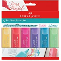 Marca Texto Tons Pastel, Faber-Castell, MT/15466, Textliner Pastel 46, 6 Cores