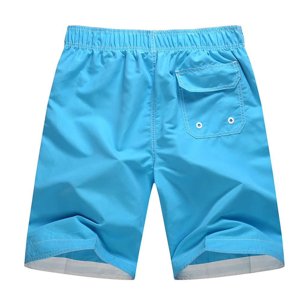 Mr.Macy Mens Casual Color Collision Patchwork Beach Surfing Loose Shorts Pants