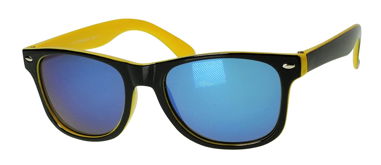 Immerschön Kinder-Sonnenbrille - cooles Wayfarer-Design schwarz-gelb gelb verspiegelt - die Sonne kann kommen UFZrPB0