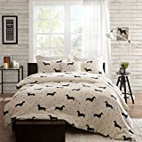4pc Trendy Black Red White Full Queen Duvet Cover Set, Animal Themed Bedding Dog Modern Shabby Fun Daschund Chic Puppy Cute Adorable Contemporary Casual Polka Dot Stylish, Cotton