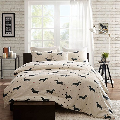 4pc Trendy Black Red White Full Queen Duvet Cover Set, Animal Themed Bedding Dog Modern Shabby Fun Daschund Chic Puppy Cute Adorable Contemporary Casual Polka Dot Stylish, Cotton by Du