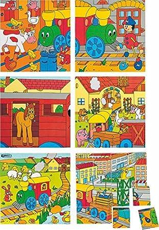 Fahrzeuge Holzspielzeug WÜRFELPUZZLE PUZZLE 16 WÜRFEL TIERE HOLZ Holzspielzeug  Kinderland