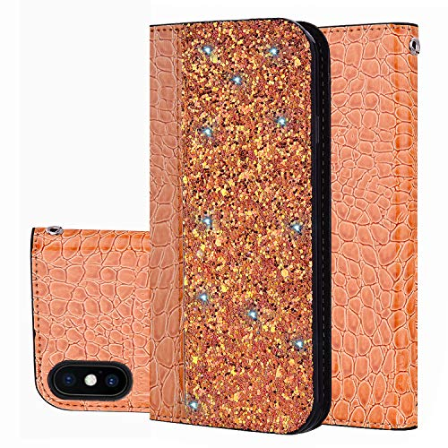 Prime Sale Day Deals Sale Offers 2019-iPhone Xs Max 6.5 inch Wallet Case Cover [Bling Glitter Shiny] Leather Flip Folio Case Kickstand Credit Card/ID Slots for iPhone Xs Max (Orange-iPhone Xs Max)