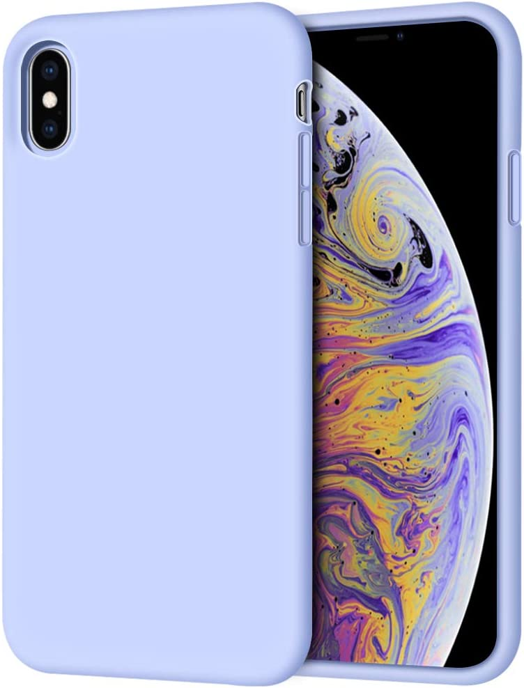 "iPhone Xs Max Case, Anuck Soft Silicone Gel Rubber Bumper Case Anti-Scratch Microfiber Lining Hard Shell Shockproof Full-Body Protective Case Cover for Apple iPhone Xs Max 6.5"" 2018 - Light Purple"