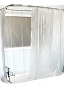 DL Extra Wide Vinyl Shower Curtain For A Clawfoot Tub Opaque With Magnets 180