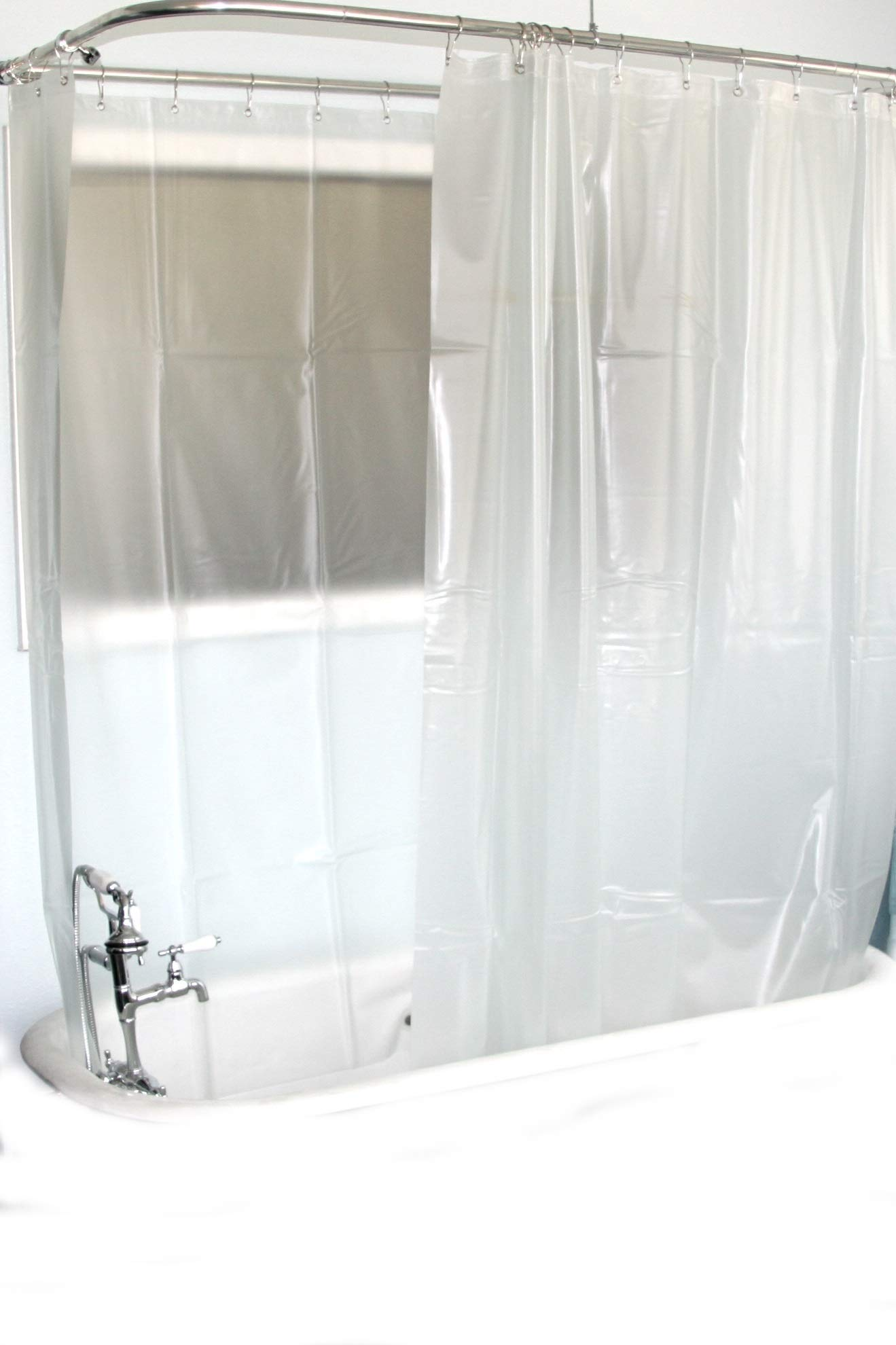 D&L Extra Wide Vinyl Shower Curtain for a Clawfoot Tub/Opaque with Magnets 180'' X 70''