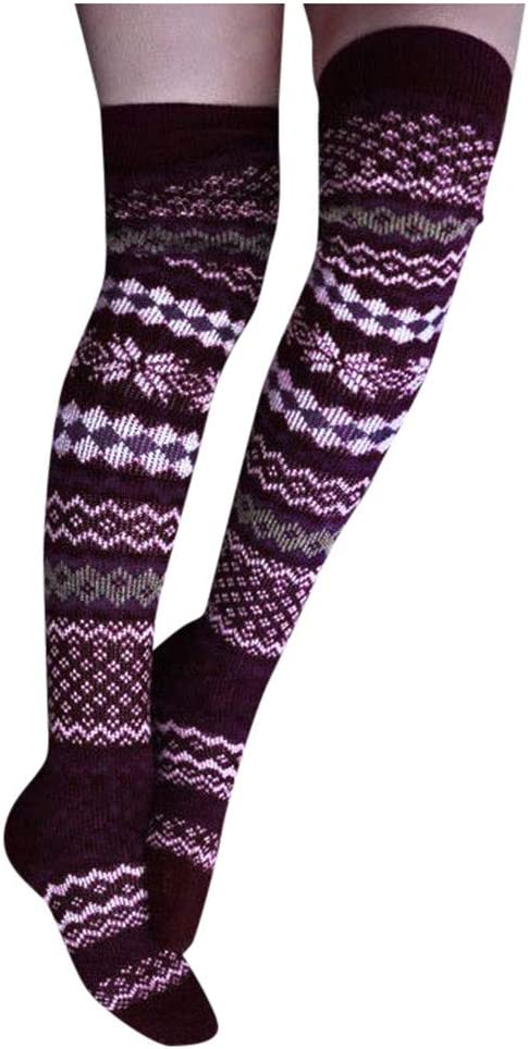 Women Girl Lace Over Knee Knit Thigh High Long Socks Winter Warm Casual Stocking