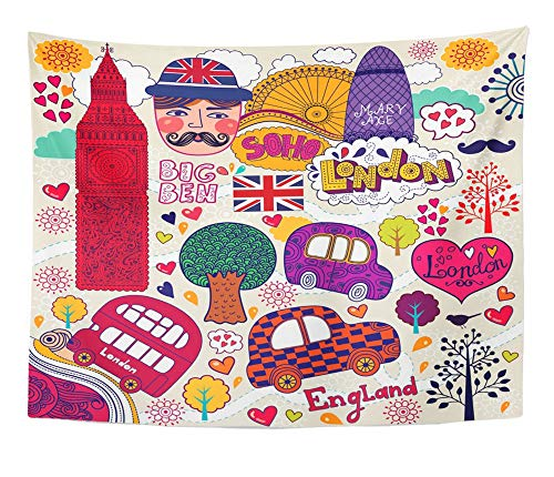Emvency Tapestry Artwork Wall Hanging Red English of London Symbols and Hand Lettering Main Place in Town Welcome British 60x80 Inches Tapestries Mattress Tablecloth Curtain Home Decor Print