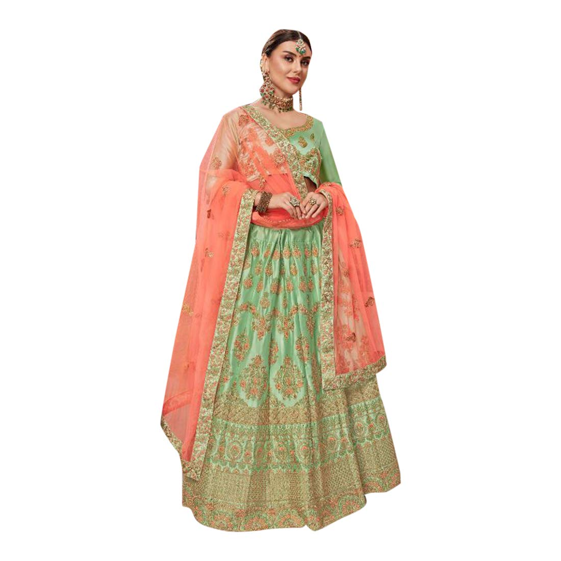 Pista Satin Silk Wedding Lehenga choli with Bridal Net Dupatta Indian Ethnic Designer Women wear Halfstitch 7642