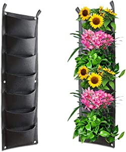 NITCAN 7 Pockets Vertical Wall Garden Planter Plant Grow Bag for Flower Herb Vegetable,Widely Used for Indoor Outdoor Home Decoration,(11'' W x 39'' H)
