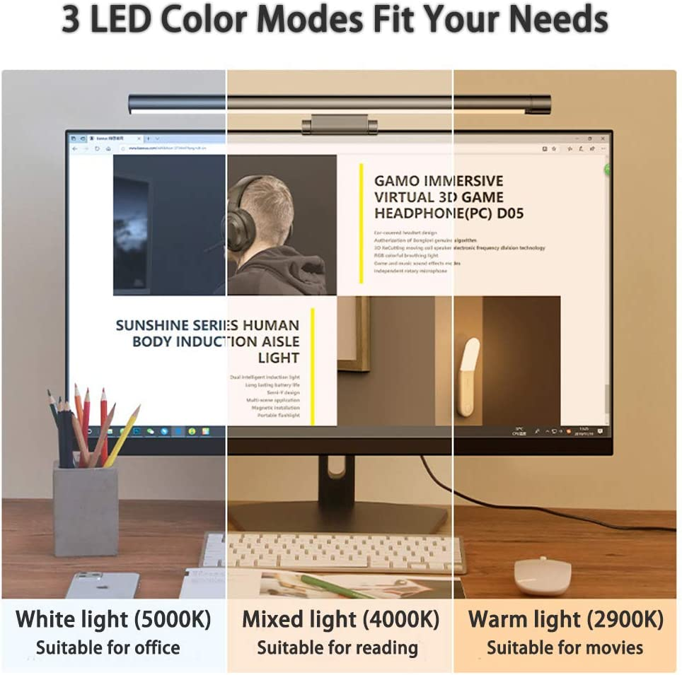 Computer Monitor Light ScreenBar LED Monitor Lamp with Hue Adjustment and Stepless-Dimming No Screen Glare USB Powered Eyes Care Reading Light for Office//Home No Visible Strobing No Blue Light Hazard