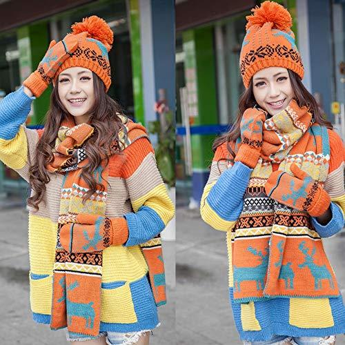 Scarf Blue colore Red Guanti Lovely Inverno Hat Black Pezzi Studente Red Orange 3 Xia Addensare 886q4T