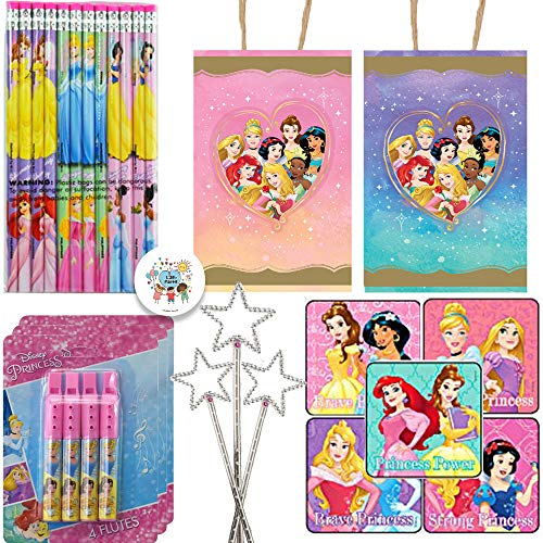 Disney Princesses Birthday Party Favors and Goodie Bag Fillers for 12 With Goody Bags, Princess Wands, Pencils, Plastic Flutes, Stickers, and Pin