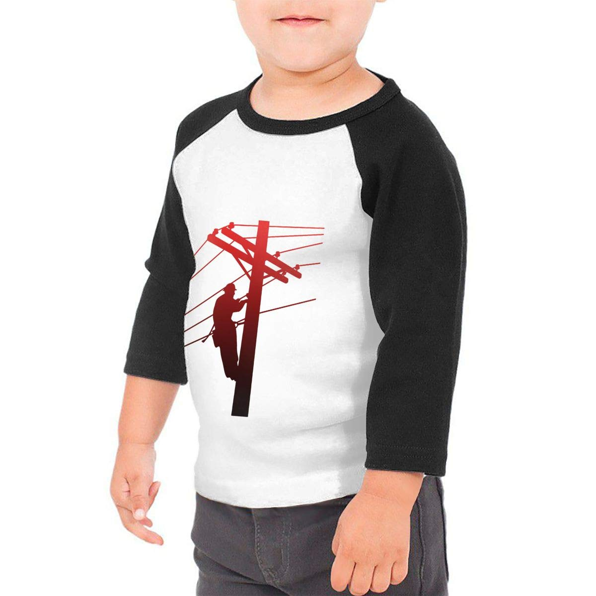 Red Lineman Unisex 100/% Cotton Childrens 3//4 Sleeves T-Shirt Top Tees 2T~5//6T
