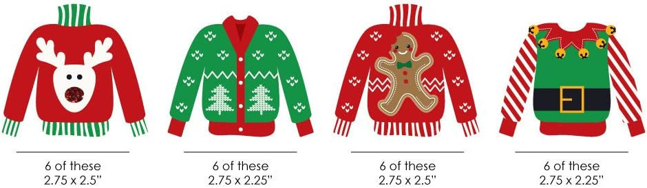 24 Count Big Dot of Happiness Ugly Sweater DIY Shaped Holiday and Christmas Paper Cut-Outs