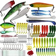 Fishing Lures Kit VOMOP Freshwater Fishing Lures Baits Tackle Kit,Baits Tackle Including Trout, Salmon, Spoon