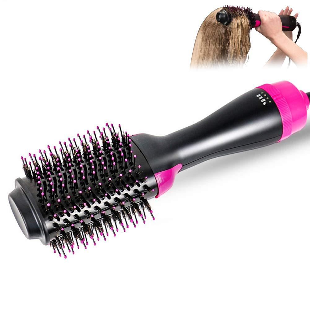 Salon un paso secador de pelo y Volumizer, multi-función oval secador de pelo y Volumizing Styler peine negativo generador de iones de pelo alisador cepillo ...